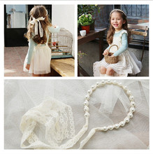 Jewelry Korean version of children's hair ornaments girl lace ribbon bow pearl hair hoop children girl headband japan and south korea hair ornaments head ornaments pearl ribbon headband hair hoop headband