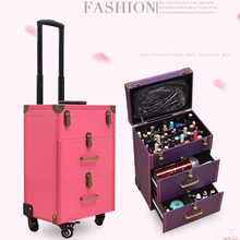 Nieuwe Nail Tattoo Rolling Bagage Tas Meisje Multi Functie Trolley Koffer Vrouwen Multi Layer Hoge Capaciteit Cosmetische Case Op Wielen