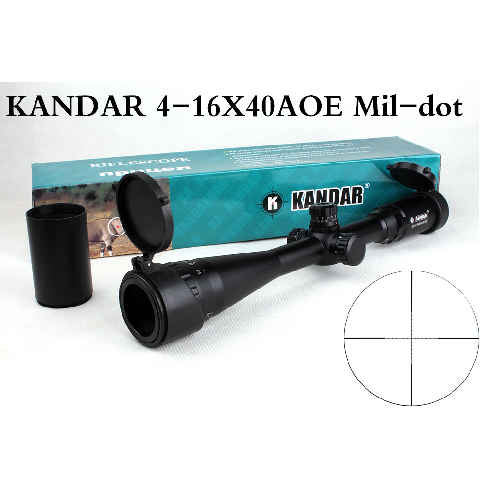 Tactical Optical Sight KANDAR 4-16x40 AOE Mil-dot Reticle RifleScope Locking/Resetting Hunting Rifle Scope