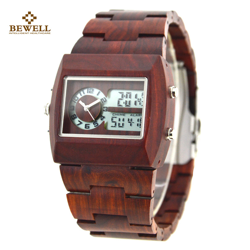 BEWELL Wooden Men Black Quartz Watch with Double Movement Luminous Display Luxury Zebra Wristwatches for Your Family Gift 021A