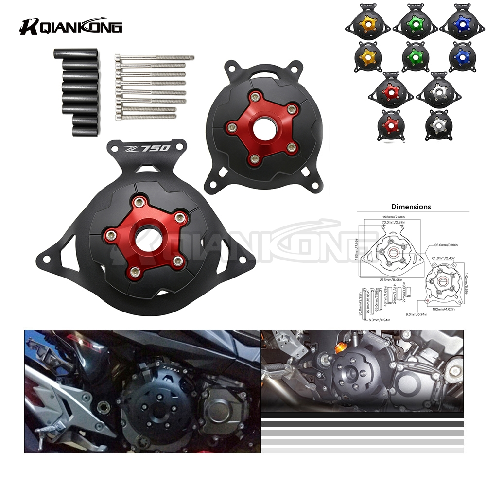 R QIANKONG For KAWASAKI Z750 2013-2016 MONSTER ENERGY Z750 Engine Stator Cover Engine Protective Cover Left&Right Side Protector for kawasaki z750 motorcycle engine stator cover aluminium alloy engine guard protector with z750 logo for z750 2013 2014 2017