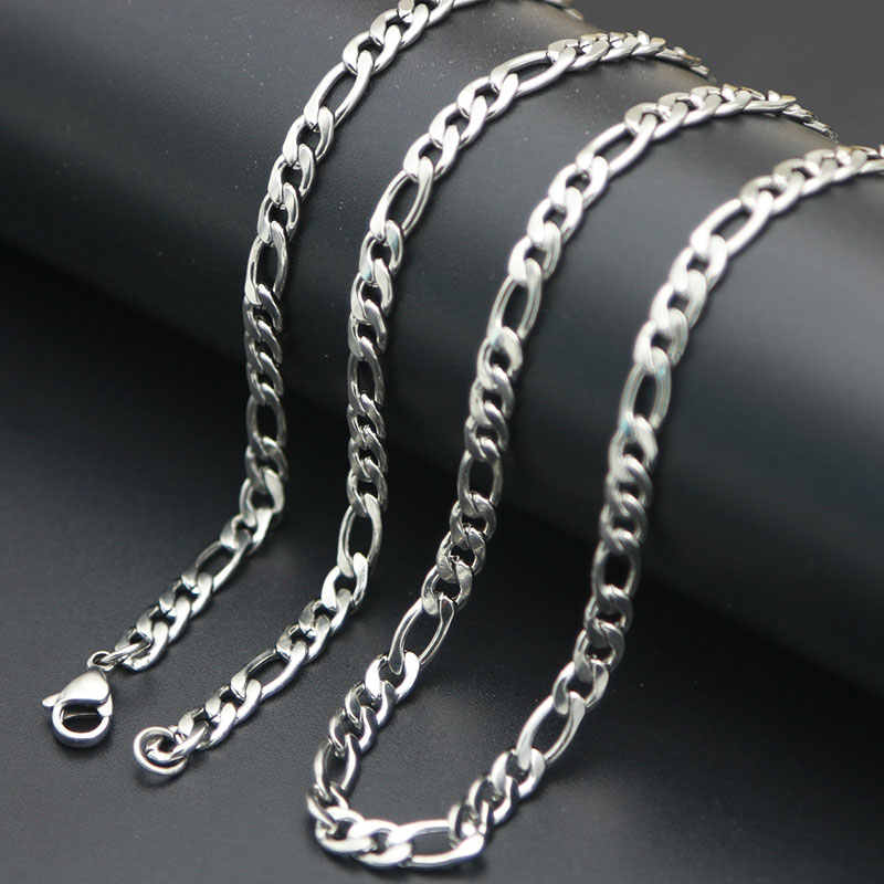 Wholesale Price  Men Chain Silver Figaro Chain 316 Stainless Steel Necklace Link Cable Lobster Clasp for Men