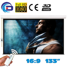 Promo offer 133 inch 16:9 Electric Projector Projection Screen Pantalla Proyeccion WFFG for LED LCD HD Movie Motorized Projection Screen