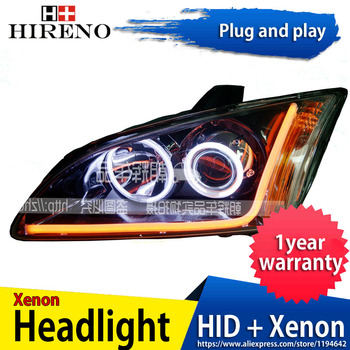 Car custom Modified Xenon Headlamp for Ford Focus 2005-08 Headlights Assembly Car styling Angel Lens HID 2pcs