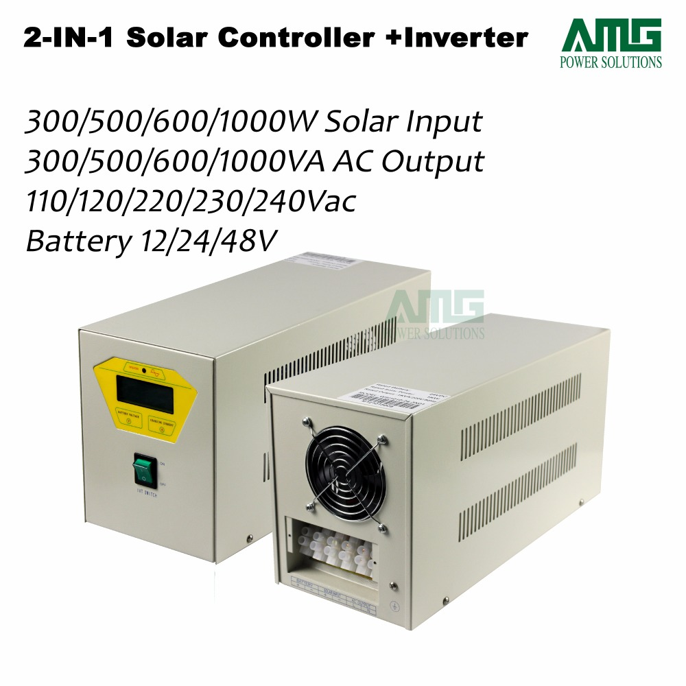 500W 24Vdc 110/120/220/230/240Vac System Home Use Residential Solar Charger Controller+Inverter Cabinet with grid charging micro inverters on grid tie with mppt function 600w home solar system dc22 50v input to ac output for countries standard use
