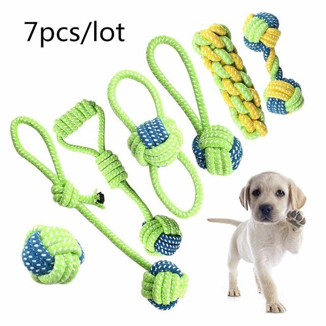 7pcs/set Pet Dog Toys Set Interesting Dog Toys Training Chew Cotton Knot Toys Dog's Chew Toys Set Product Supplies