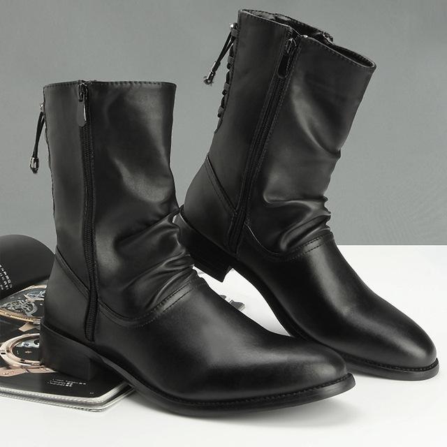 Británico Martin Botas de Cuero de Grano completo Botines Con Cremallera Lateral Botas de Negocios Negro Para Los Hombres de Calidad de la Moda Masculina Zapatos Botas Homme