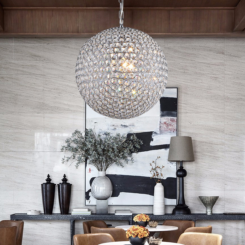 Chandelier living room modern simple creative crystal ball restaurant lights lights round bedroom bar table lamp lighting modern brief fashion round ball crystal lamp pendant lamp restaurant lamp bedroom lamp living room lights