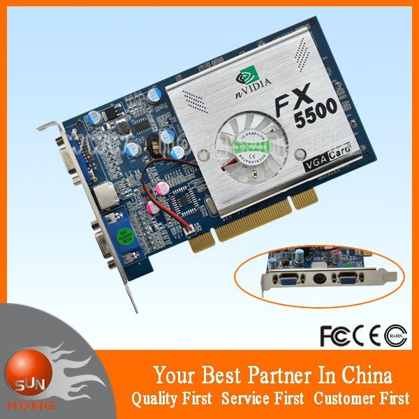 NEW nVIDIA FX5500 256MB 128bit PCI DDR VGA //S-Video Video Card FX 5500 3D
