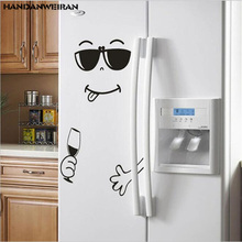 1PCS New refrigerator stickers funny Smiley face carved waterproof friendly removable home decoration