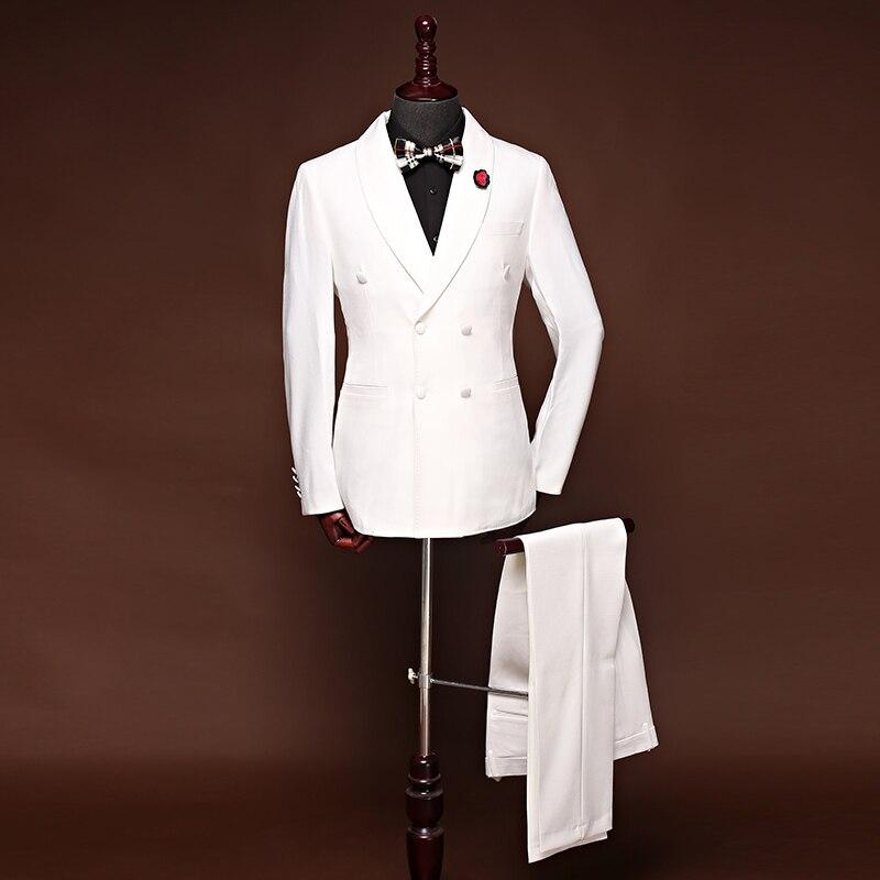 Suit men's three piece white Korean version of the slim suit professional dress best man groom wedding dress