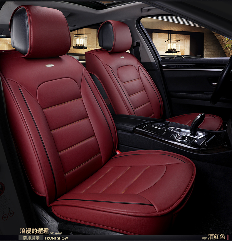 Wear-resisting waterproof pu leather car seat covers for KIA rio sportage SUZUKI Grand Vitara universal front rear full seats pu leather 5 7 seats car rear trunk mats backrest pad for new carens waterproof wear resisting easy clean