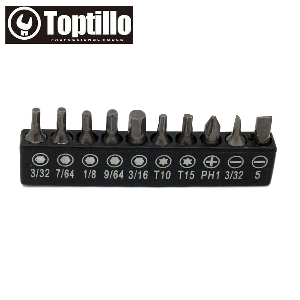 10pcs Screwdriver Bit Set 25mm Electric HEX 3 32 7 64 1 8 9 16 TORX T10 T15 Slotted 5