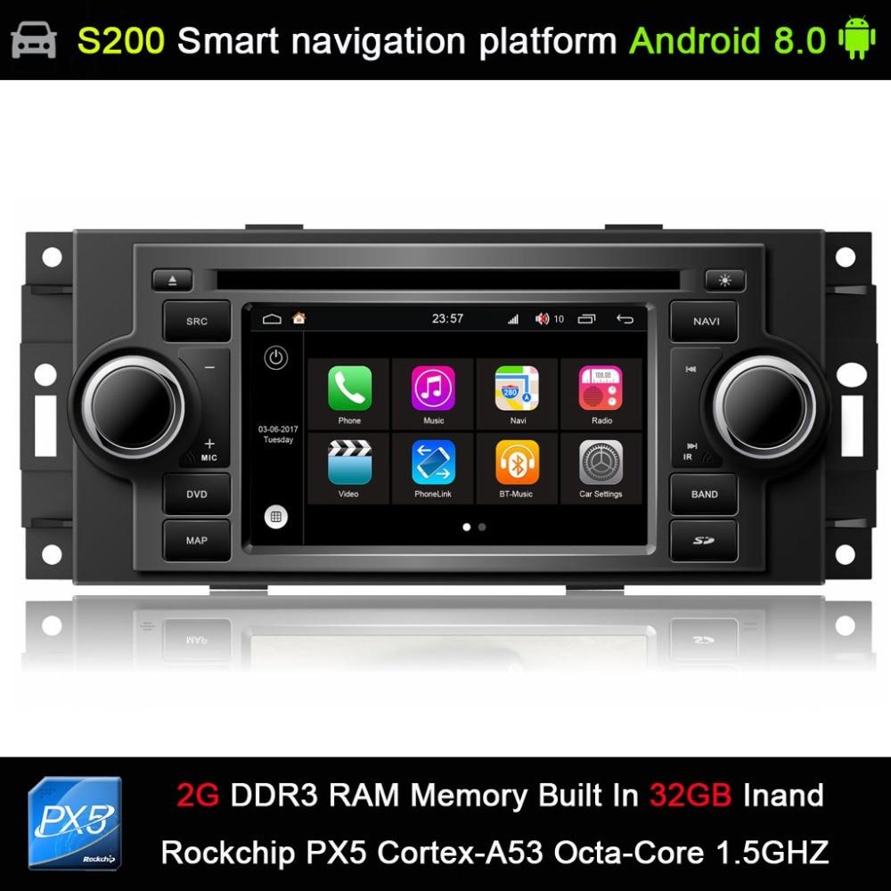 auto Android 8.0 system PX5 Octa 8-Core CPU 2G Ram 32GB Rom Car DVD Radio GPS for 300C PT Cruiser Dodge Ram Jeep Grand Cherokee стоимость