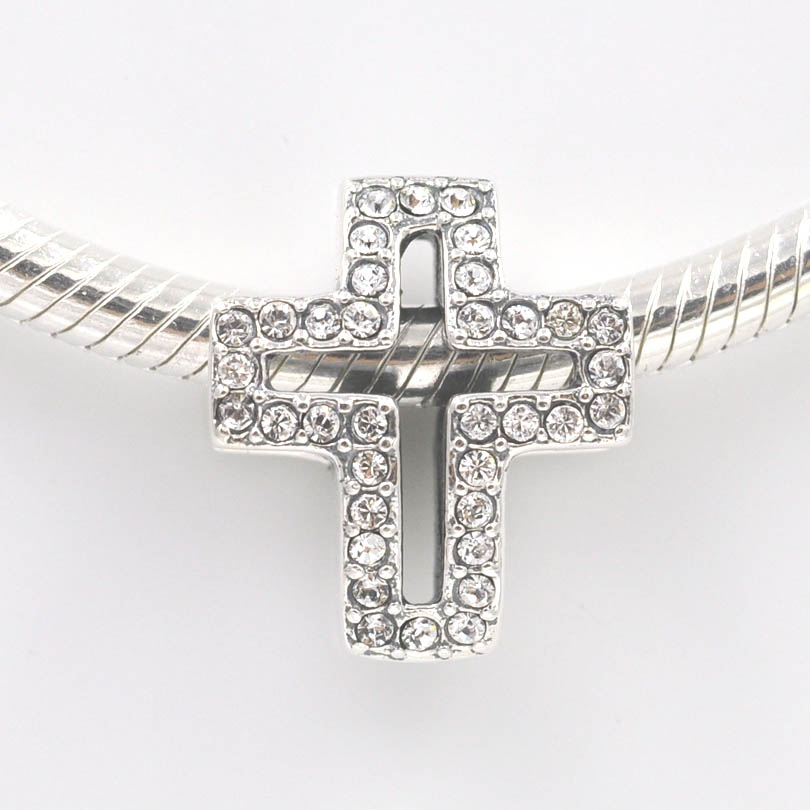Cross Charm Bracelet: 2015 New 925 Sterling Silver Beads Pave Stone Cross Charm