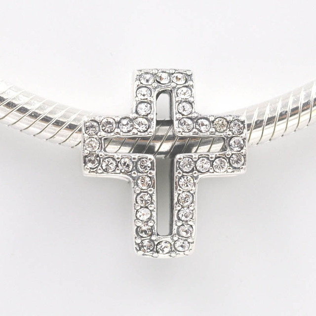 3633d47c6 2015 New 925 Sterling Silver Beads Pave Stone Cross Charm fits Pandora  Charms bracelet necklace DIY Jewelry Making