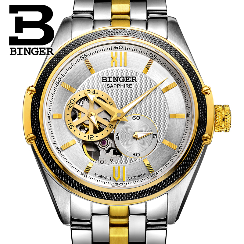 Switzerland Binger Watch Men Luxury Brand Miyota Automatic Mechanical Movement Watches Sapphire Waterproof reloj hombre B-1165-2 wrist waterproof mens watches top brand luxury switzerland automatic mechanical men watch sapphire military reloj hombre b6036