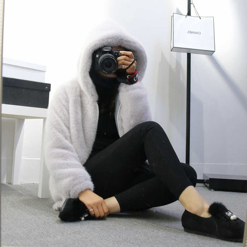 Kış Faux Vizon Kürk Ceket Uzun Fener Kollu Kadın Kürk Kapşonlu Fermuar Sıcak Kürk Akın Hırka Tops Kabarık Ceket şapka