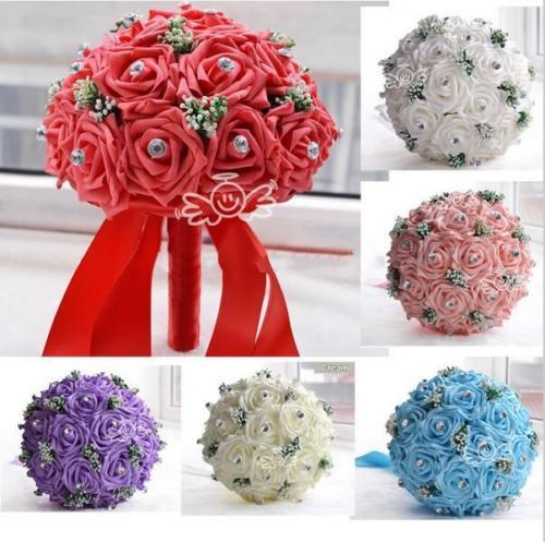 6 Colors Custom Artificial Bridemaid Bridal White Flowers Roses Purple Bouquet Silk Brooch Red Rose Bouquet Wedding Accessories