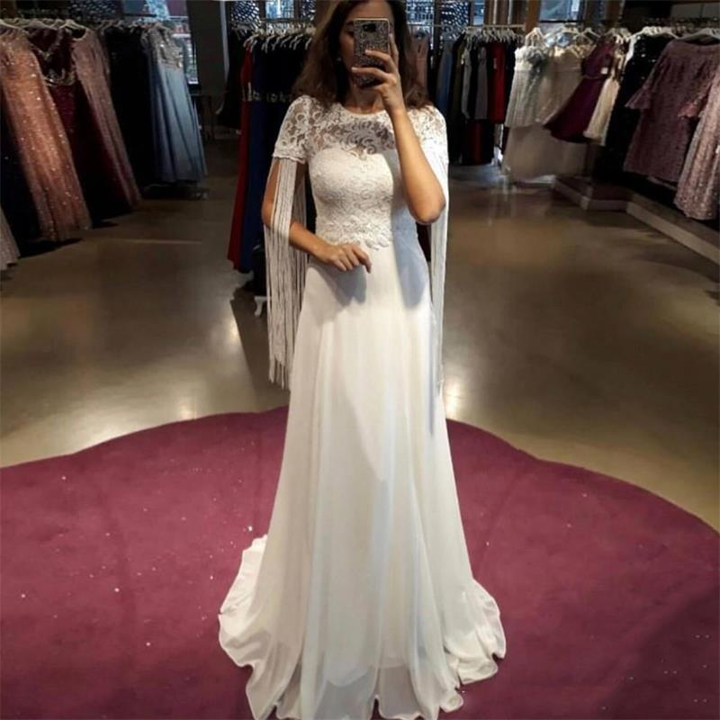 2019 Short Sleeves Lace Wedding Dresses with Tassels Jewel Neck Long Chiffon A Line Bridal Gowns Cheap Chiffon Wedding Dres