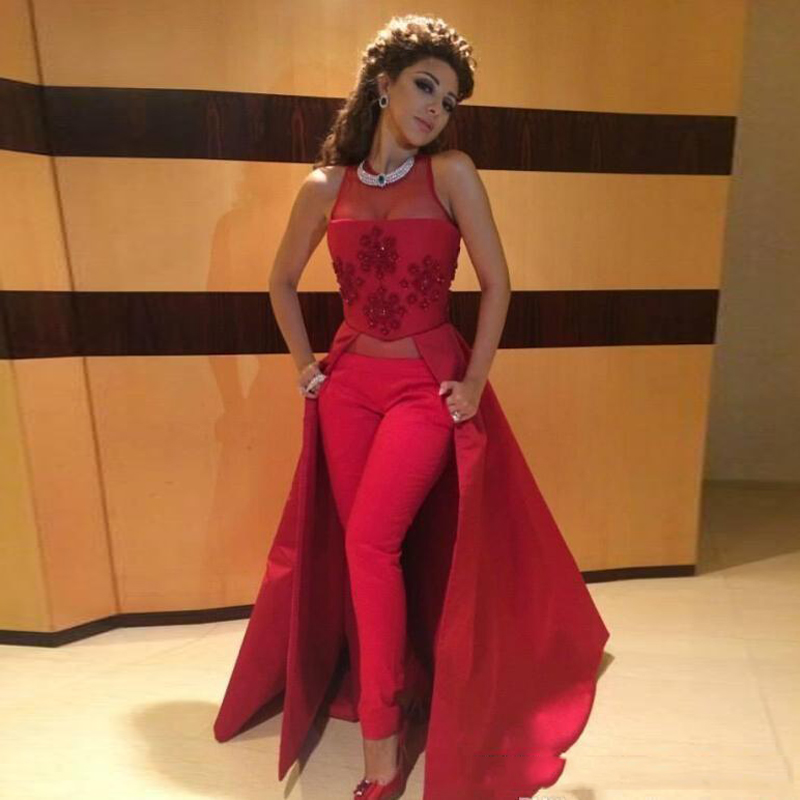 Arabic Myriam Fares Dresses 2019 Illusion Kaftan Dubai Muslim Women Prom Dresses Cheap Evening Gowns Without Pants No Trousers(China)
