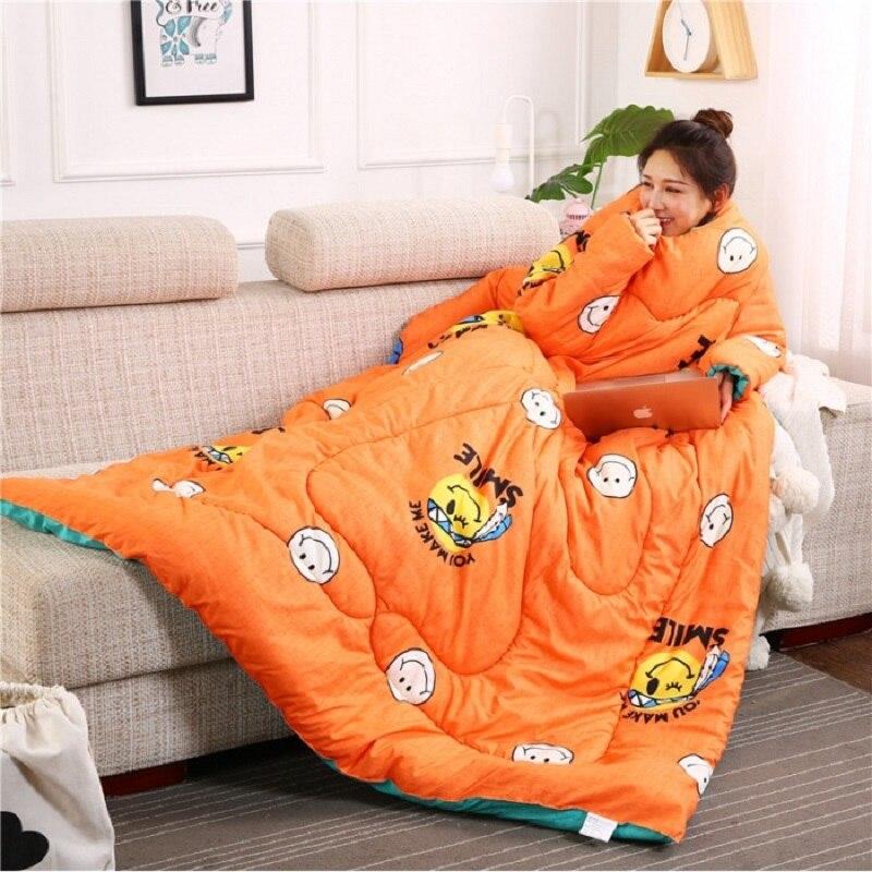 Зима ленивый Стёганое одеяло с рукавами Зима Стёганое одеяло дома постельные принадлежности кашне печатных Edredom утепленная