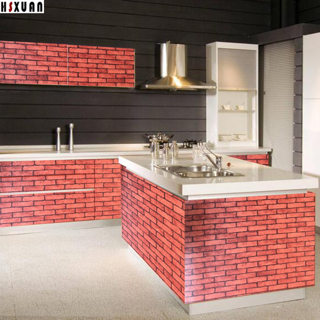 Brick Wall Picture Paper Decal Self Adhesive Removable Kitchen Waterproof Sticker Home Decor Tiles Stickers 2601