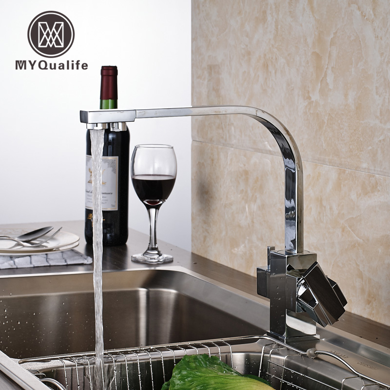 Bright Chrome Kitchen Faucet Pure Water Spout Drinking Water Tap Single Hole Vessel Sink Mixer Tap Deck Mounted golden brass kitchen faucet dual handles vessel sink mixer tap swivel spout w pure water tap