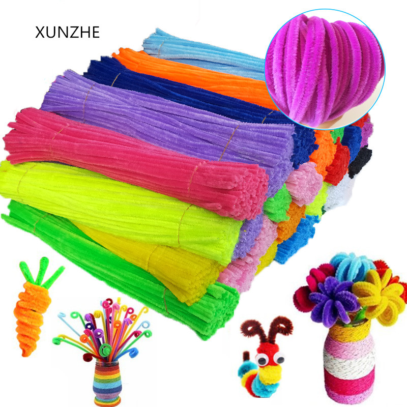 XUNZHE DIY 50 Pcs 6mm* 300mm Chenille Stalks Pipe Cleaners Kids Plush Educational Toy Colorful Pipe Cleaner Toys Handmade