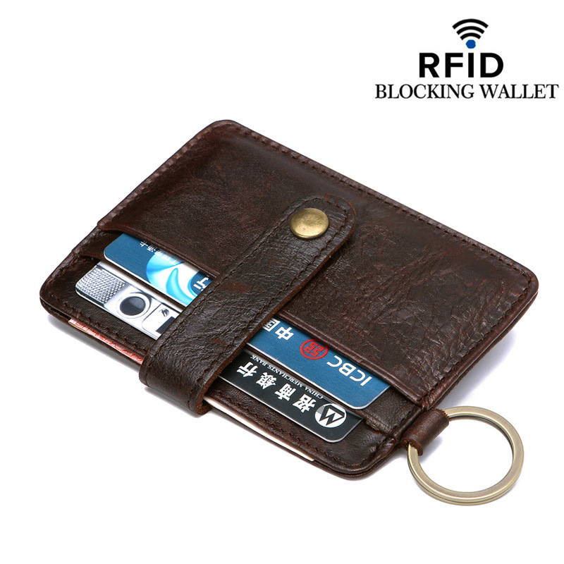 RFID Blocking Genuine Leather Solid Pattern Business Antimagnetic Against Theft Pay Buckle Card Holder Organizer Manager Wallet image