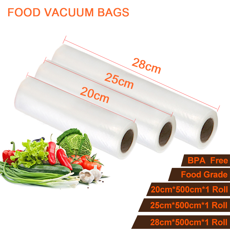 20 25 28cm 3 rolls Food Vacuum Bag Food Grade Film Vacuum Sealer Bags Vacuum Film