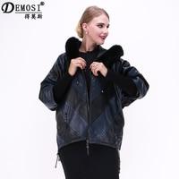 100% natural Genuine leather fox collar sheepskin Coats Women jacket Clothing bat shirt large size supply from factory wholesale