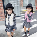 Wear a new girl on behalf of 2016 stripes with velvet skirt + Beaded vest Q011 splicing