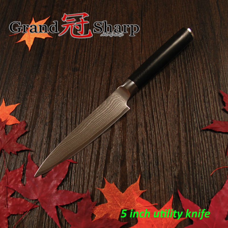 GRANDSHARP 5 Inch Utility font b Knife b font 67 Layers Japanese Damascus Stainless Steel VG