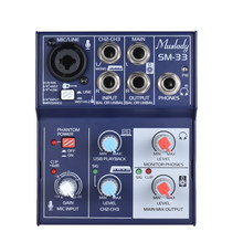 3-Channel Mixing Console Sound Card Digital Audio Mixer Supports 5V Power Bank USB Built-in 48V Phantom Power for Recording DJ(China)