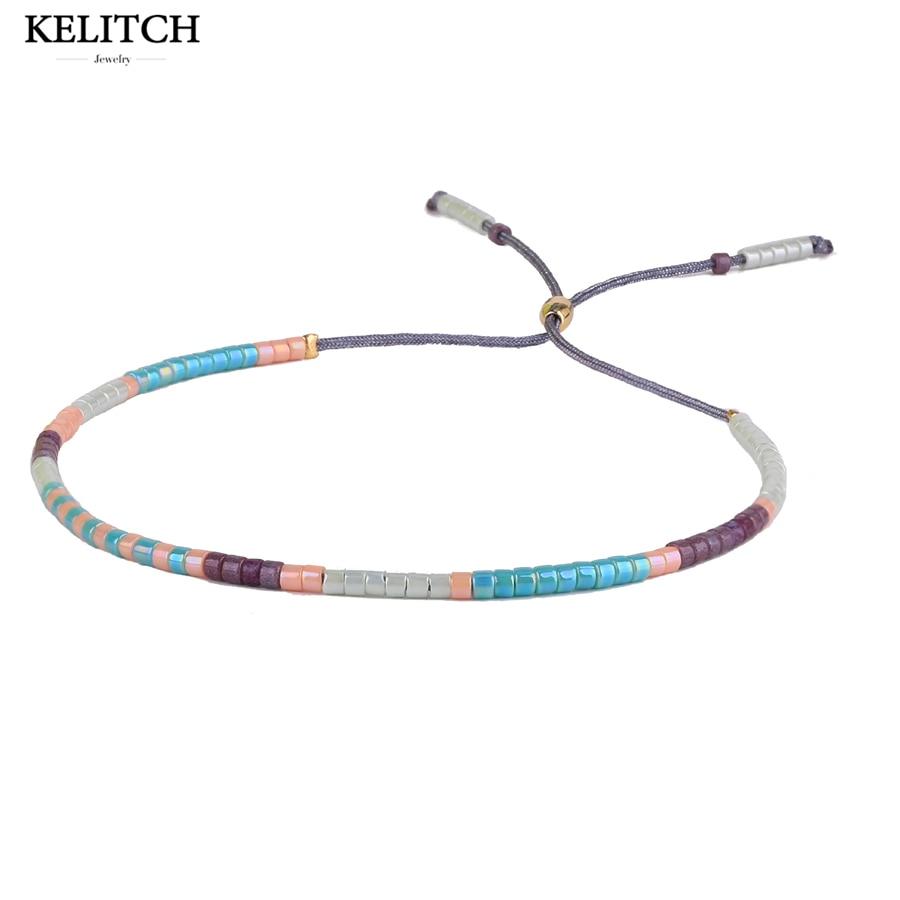 KELITCH Beautiful Friendship Bracelet Jewelry Multicolor Bracelets Crystal Seedbeads Handmade Adjustable For best Friends Gifts