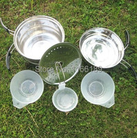 Free shipping Outdoor Camping Hiking Cookware Backpacking Cooking Picnic Bowl Pot Pan Set Stainless Steel outdoor cooking set