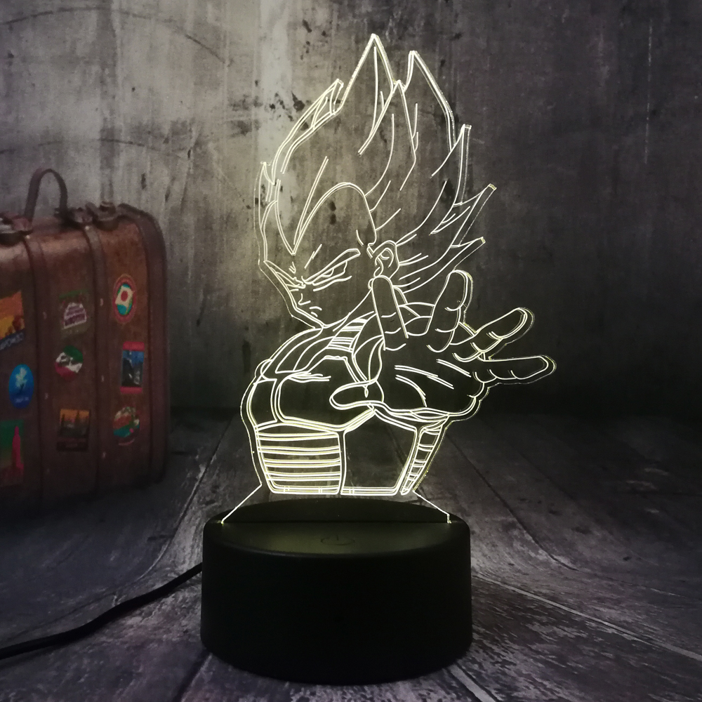 Dragon Ball Saiyan Vegeta Son Goku Kakarotto LED Night Light Table Party 3D Lamp Home Decor Kid Toy Christmas Gift Drop Shipping