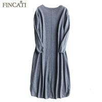 Sweater Dress 2017 Autumn Winter High Grade 100 Pure Cashmere Cozy Fluffy Mid Calf Length Femme