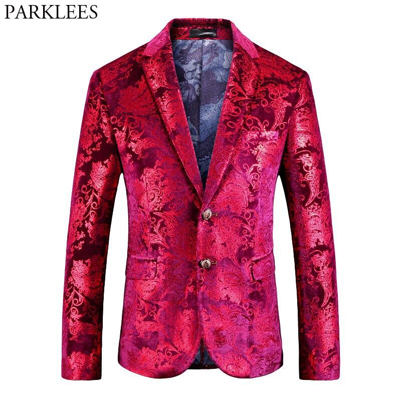 Hommes rouge Floral Blazer veste 2018 tout nouveau simple boutonnage deux boutons velours costume Blazer hommes fête mariage bal scène Costumes