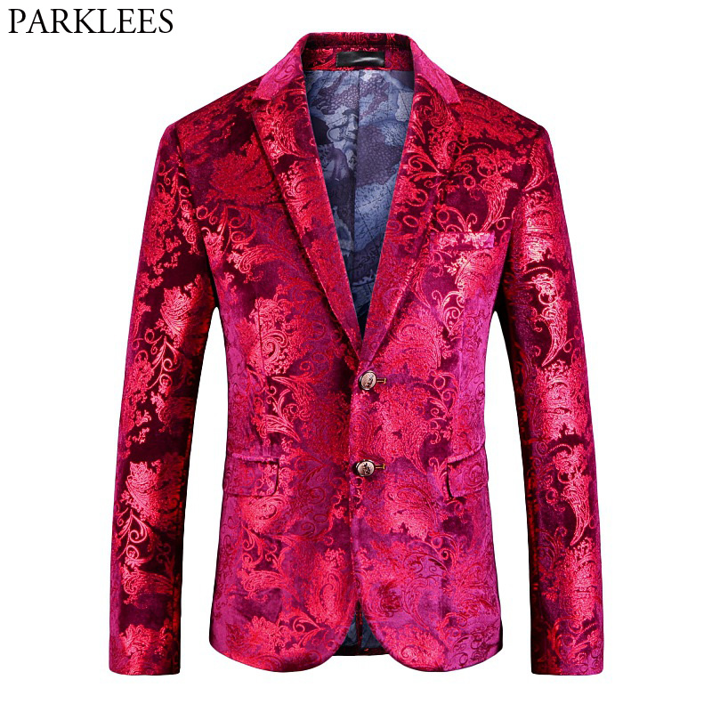 Mens Red Floral Blazer Jacket 2018 Brand New Single Breasted Two Button Velvet Suit Blazer Men Party Wedding Prom Stage Costumes