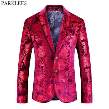 Mens Red Floral Blazer Jacket 2018 Brand New Single Breasted Two Button Velvet Suit Blazer Men Party Wedding Prom Stage Costumes - DISCOUNT ITEM  20% OFF All Category