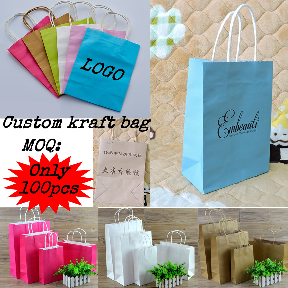 Custom Printed  Logo Recyclable Shopping  Gift Kraft Paper Bag For Packaging 100/1lots