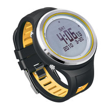 SUNROAD 5ATM Waterproof Digital Outdoor Sports Clock -Men Watch  EL Backlight Compass Pedometer Watch Thermometer Yellow Color