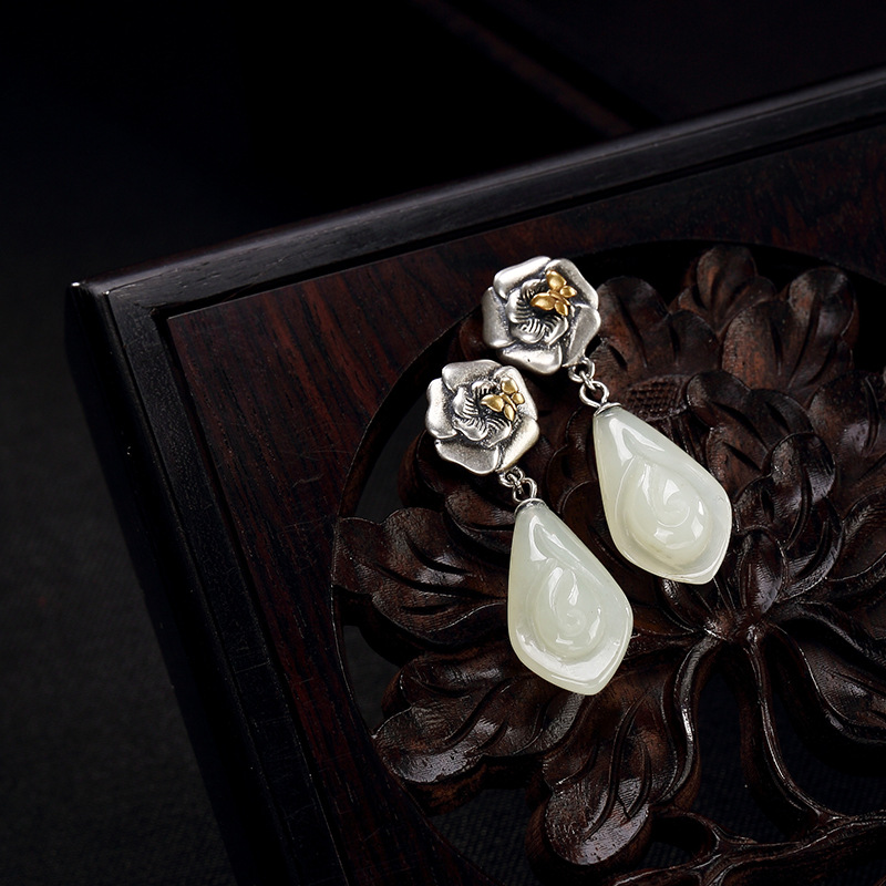 Jewelry & Accessories Discreet Earings Fashion Jewelry S925 Pure Antique Mosaic And Tian Yu Jade Plum Blossom Tulip Lady Tremella Pendant Earrings Wholesale