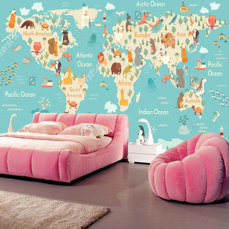 Custom children wallpaper, cartoon world map murals for the living room children's room wall wallpaper PVC the physical world wall map material laminated