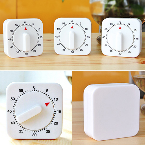 New Fashion Novelty White Square 60 Minutes Mechanical Timer Reminder Counting for Kitchen