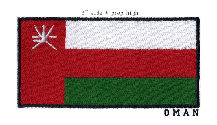 Oman 3 wide embroidery flag patch free shipping for clothes iron/Red represents good luck/T shape/