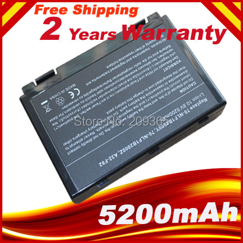 Free shipping Battery for Asus K50IN F52 F82 F83S K40 K40E K50 K50I K50IJ K60IJ K61IC A32-F82,A32-F52