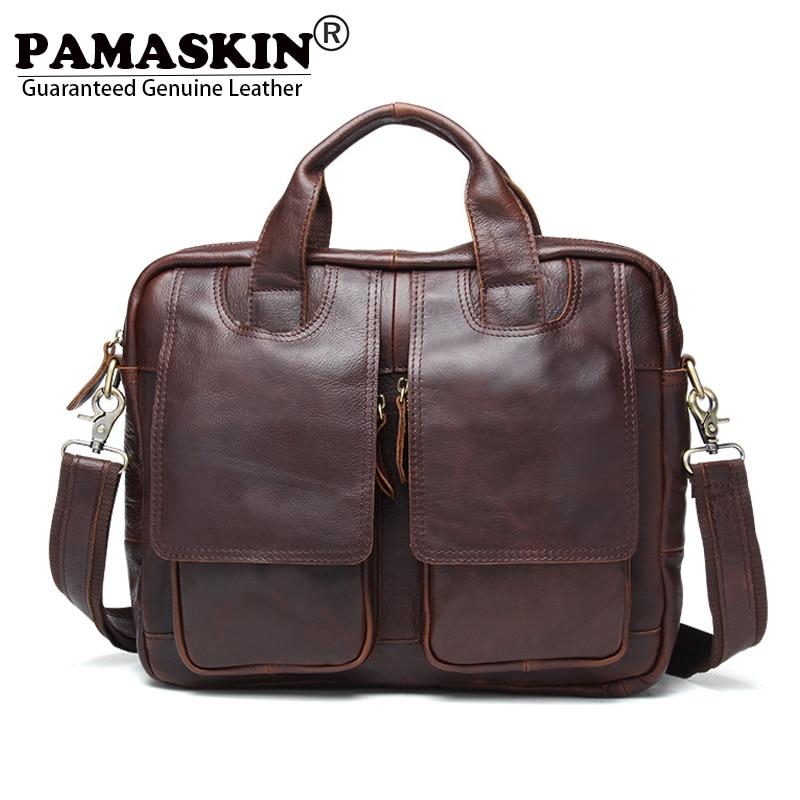 PAMASKIN New Design Men's Briefcases Laptop Bags Satchel Bag For Men 2017 Luxury Genuine Leather Brand Business Messenger Bags casual canvas satchel men sling bag